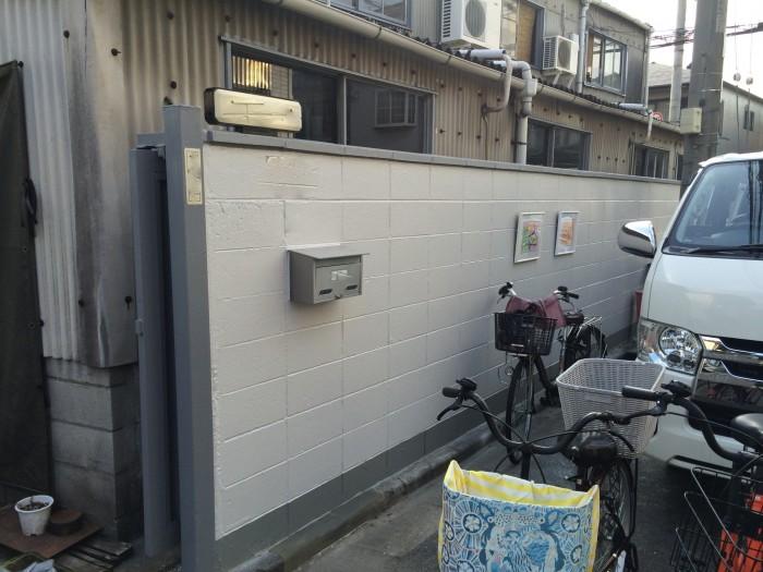 大阪府八尾市 S社 外構ブロック塀塗装 (3)